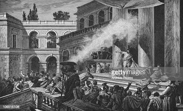 Mark Antony delivers a funeral oration over the body of Julius Caesar following the latter's assassination at the Senate in Rome