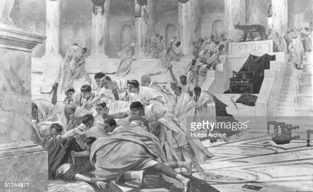 15th March 44 BC The assassination of Roman dictator Julius Caesar by conspirators led by Brutus and Cassius Original Artist By RocheGrosse