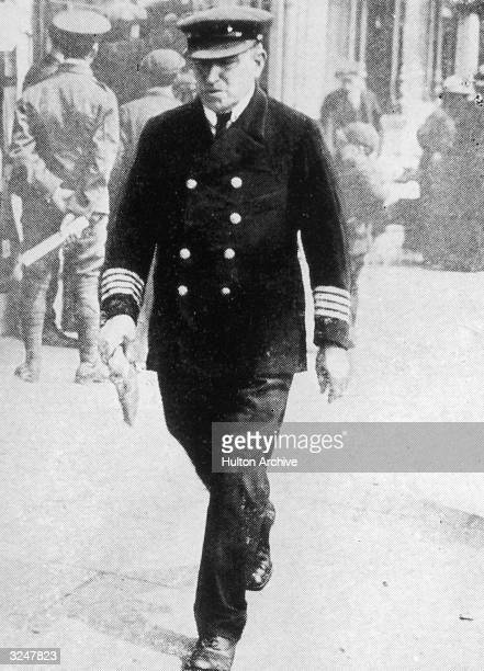 Captain William Turner commander of he British passenger liner Lusitania which had been sunk a week earlier by a German submarine with the loss of...