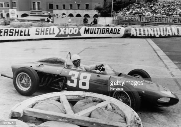 US motorracing driver Phil Hill in the wheel of his Ferrari at the Monaco Grand Prix at Monte Carlo