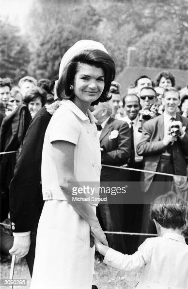 Jacqueline Kennedy attends the inauguration of a memorial to her husband John F Kennedy in Runnymede Surrey nearly eighteen months after his...