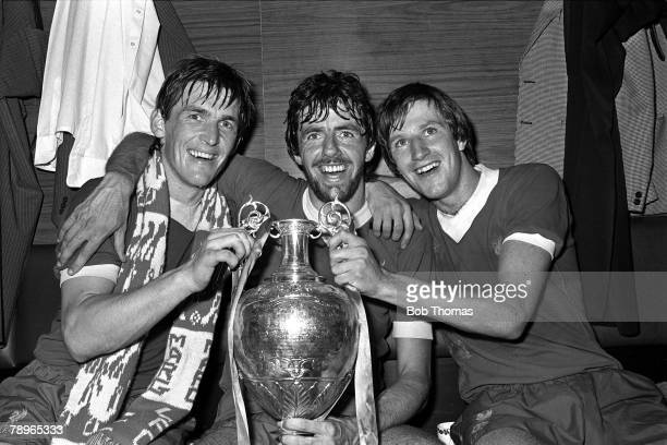 15th May 1982 Anfield Liverpool Liverpool 3 v Tottenham Hotspur 1 The three Liverpool goalscorers Kenny Dalglish Mark Lawrenson and Ronnie Whelan...