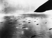 A large convoy of ships seen from a US Navy flying boat patrolling the North Atlantic