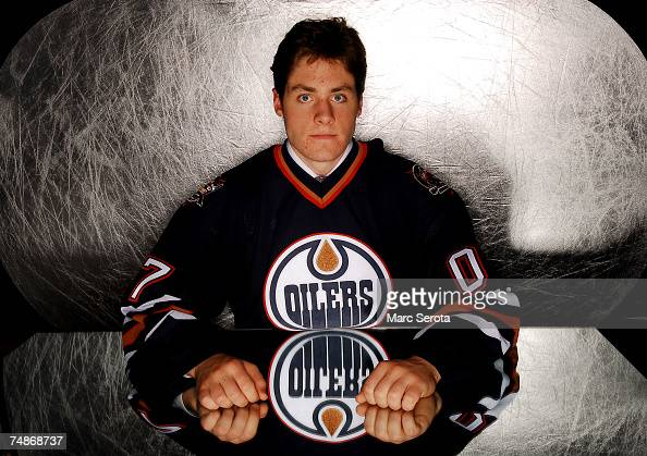 15th overall pick Alex Plante of the Edmonton Oilers poses for a portrait during the first round of the 2007 NHL Entry Draft at Nationwide Arena on...