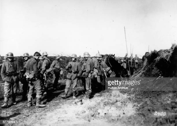 German reserves wait to commence battle with the pursuing enemy after the German retreat at the Somme