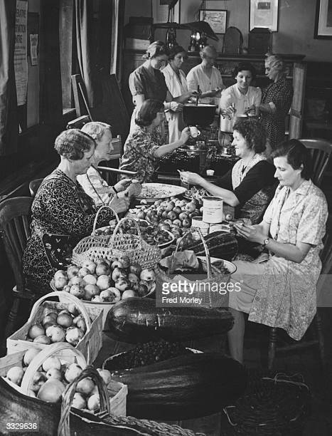 Ladies of the Women's Institute in Brimpton England make jam to sell to local grocers