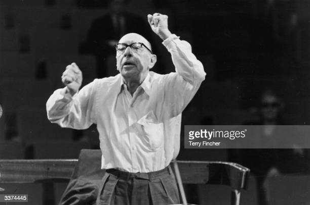 Russian composer Igor Stravinsky conducting the Philharmonic Orchestra in rehearsal at the Royal Festival Hall London