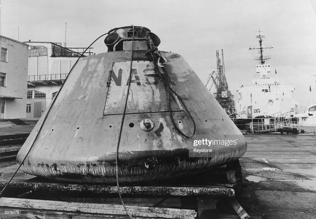 The Apollo boilerplate capsule BP-1227 at the docks at Murmansk after being recovered by Soviet fishermen in the Golfe de Gascogne (Bay of Biscay), France. It was later returned to the US.
