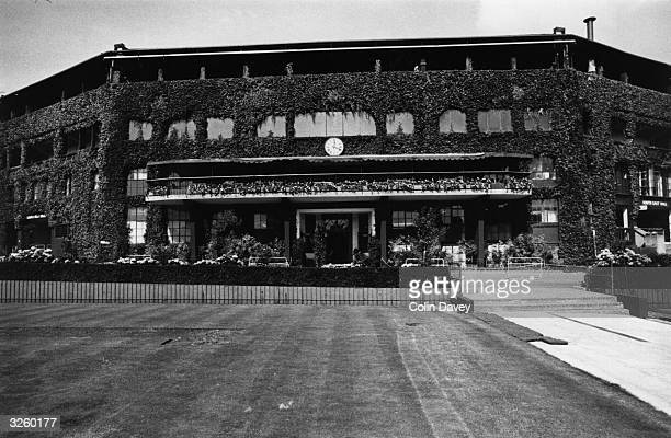An exterior view of the ivycovered Centre Court at the Wimbledon Lawn Tennis Championships