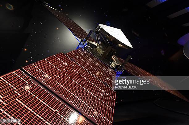 A 1/5th size scale model of NASA's Juno spacecraft is displayed at the Jet Propulsion Laboratory in Pasadena California July 4 2016 Juno was launched...