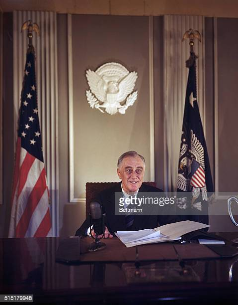 1/6/1945Washington DC Portrait of Franklin D Roosevelt seated at desk the last color image of him before the announcement of his death