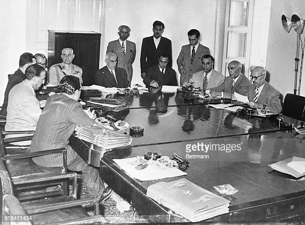 /16/1951Tehran Iran Prime Minister Mohammed Mossadegh addresses at an Iranian Cabinet meeting the nationalization of the country's oil industry the...