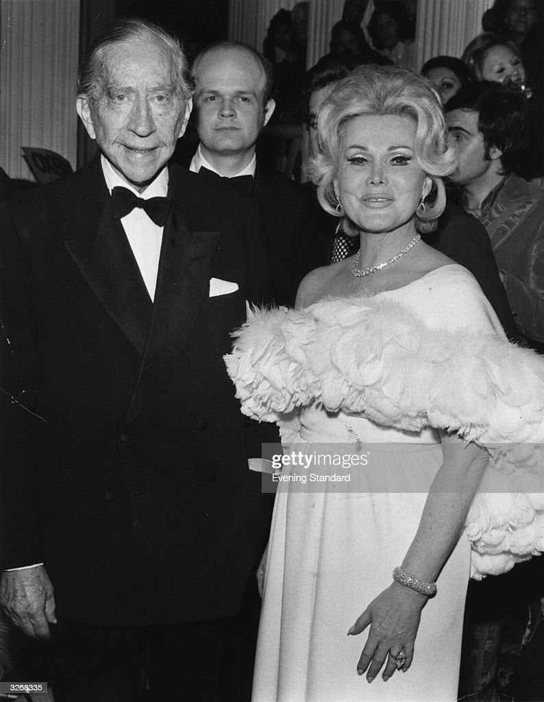 John Paul Getty (1892 - 1976) American oil executive, multi-millionaire and art collector, with <a gi-track='captionPersonalityLinkClicked' href=/galleries/search?phrase=Zsa+Zsa+Gabor&family=editorial&specificpeople=123856 ng-click='$event.stopPropagation()'>Zsa Zsa Gabor</a>, exotic international Hungarian leading lady.