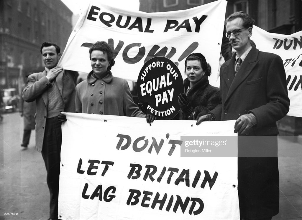 Campaigners for equal pay for women outside Caxton Hall, London. The campaign's members are from the Civil Service, the National Union of Teachers, the National and Local Government Officers' Association and the National Federation of Professional Workers.