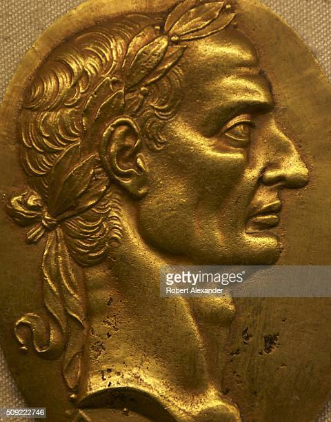 A 16th century gold medallion with a portrait of Giulio Cesare the dictator of the Roman Republic is among the artworks on display at the Bargello...