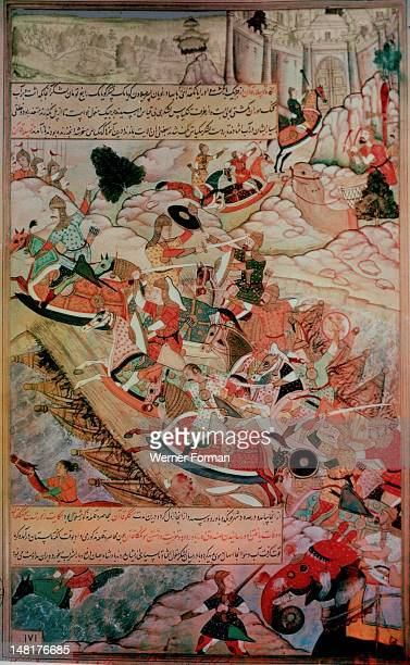 A 16th century illustration of a 14th century Persian story 'The History of the Mongols' Kublai Khan's armies lay siege to the Chinese fortress O...