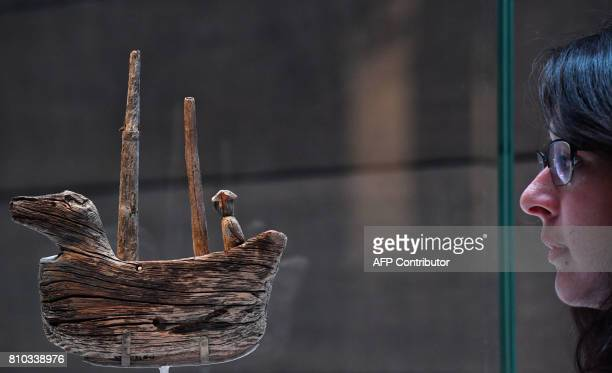 A 16th century wooden Inuit model of an European ship is part of the 'Death In The Ice The Shocking Story Of Franklin's Final Expedition' exhibition...