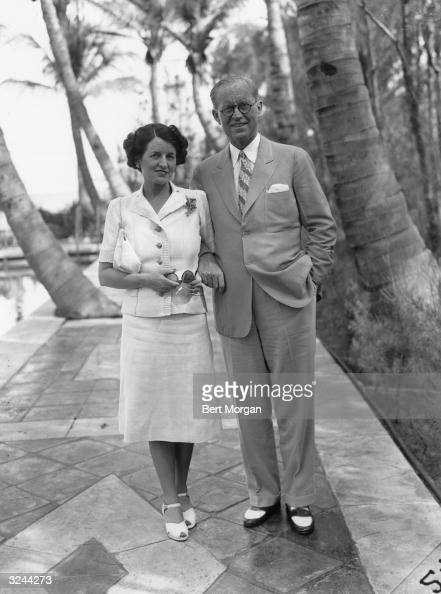 EXCLUSIVE American financier and ambassador Joseph P Kennedy and his wife Rose Kennedy linking arms and strolling along stone path in Palm Beach...