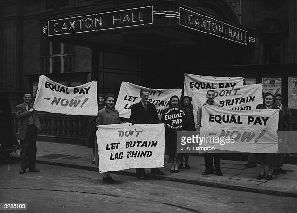 Civil servants campaigning for equal pay outside Caxton Hall