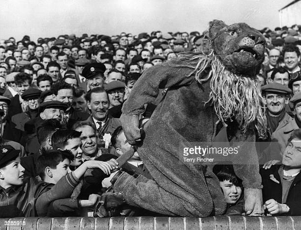 The Millwall Lion the football club's mascot joins the crowd before kickoff of the FA Cup match between Millwall and Birmingham City
