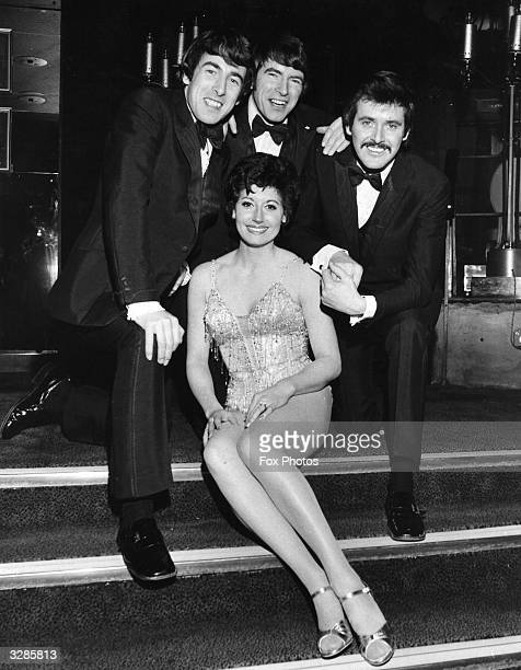 The Dublin born easy listening vocal trio The Bachelors from left to right Declan Cluskey Conleth Cluskey and John Stokes with Diana Landor at the...