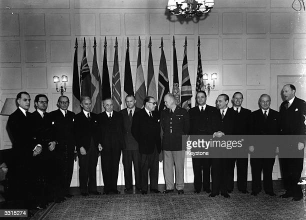 A meeting of the North Atlantic Council Deputies at 13 Belgrave Square London attended by General Dwight D Eisenhower supreme commander of the...