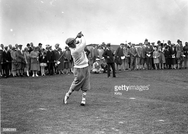 American champion golfer Bobby Jones driving off at St Andrews where he won the British Open Golf Championship with a record score of 285 The Royal...