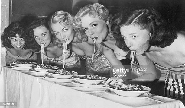 Third from left Greene Courtney winning a spaghettiswooshing contest in which the spaghetti must be eaten with use of face lips and tongue only The...