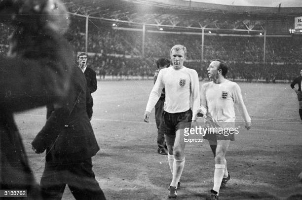 Nobby Stiles and Bobby Moore chatting to each other during the England versus Mexico 1966 World Cup match