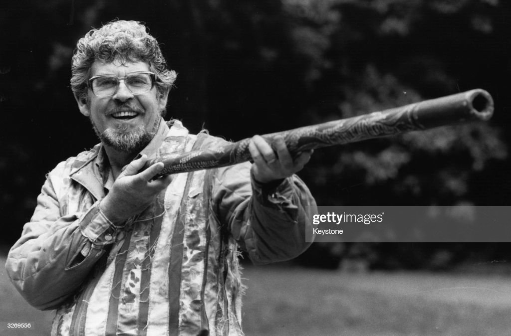 Australian entertainer Rolf Harris gets ready to blow his didgeridoo to promote a concert at Central Hall Westminster staged to raise money for...