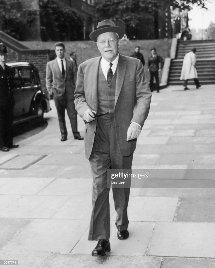 Allen Welsh Dulles brother of the late John Foster Dulles and Chief of the CIA arrives at the Foreign Office in London to pay a visit to Sir...