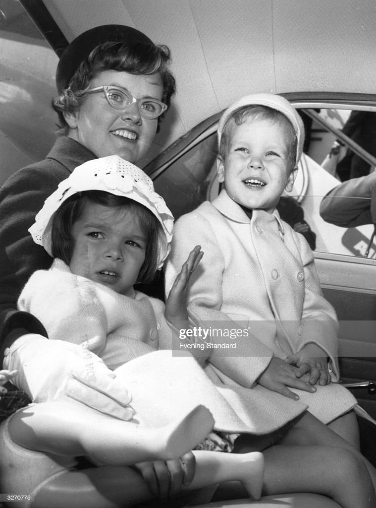 Prince Albert and Princess Caroline of Monaco out for a drive with their nanny