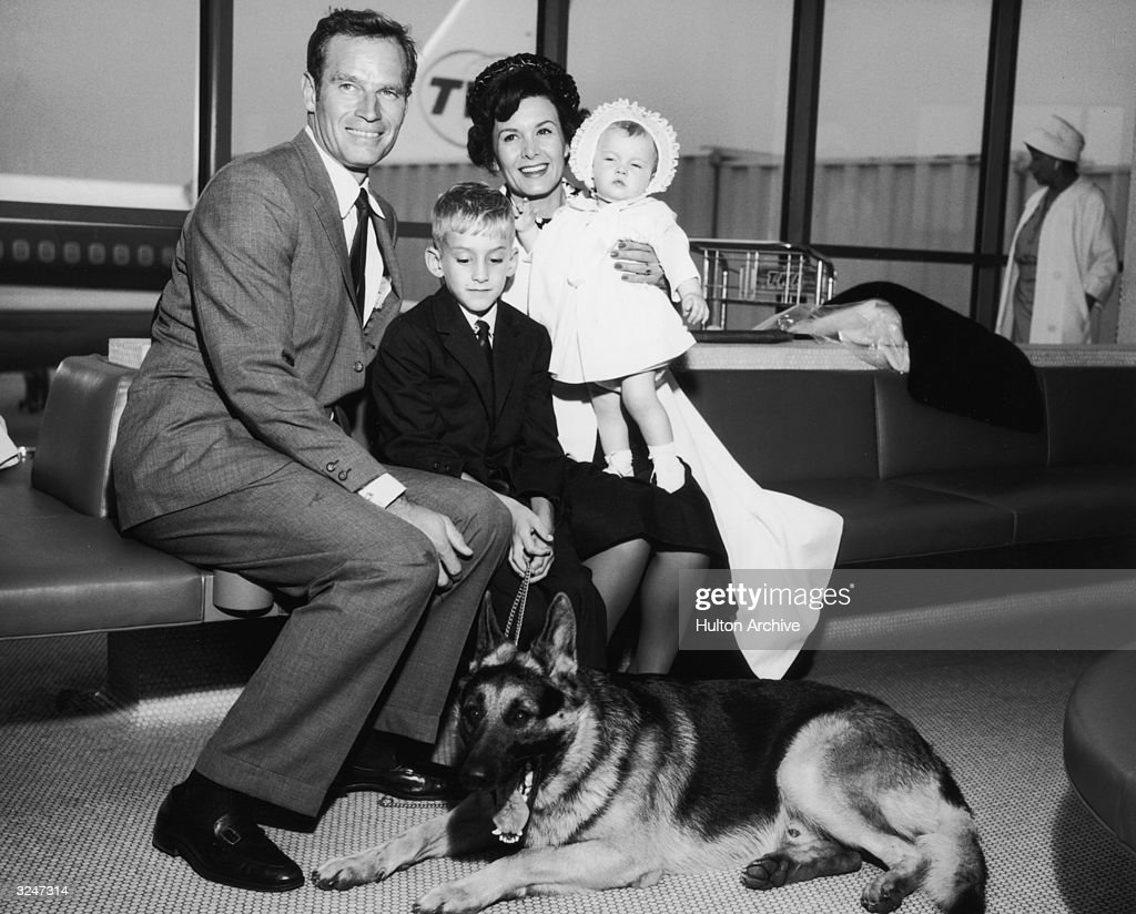 American actor Charlton Heston and his wife Lydia sit with their son Fraser their daughter Holly and their German shepherd Drago New York...