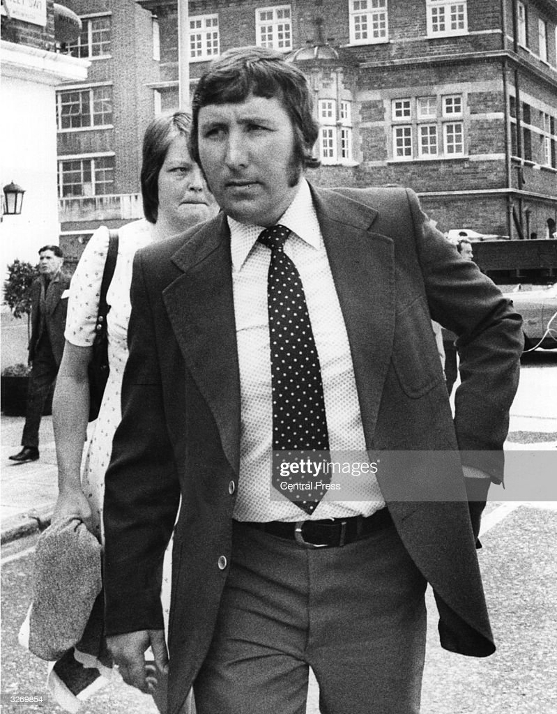 Roger Rivett, a security guard and husband of nanny Sandra Rivett whose battered body was found in the Lucan household, in London after giving evidence to the Court on the case.