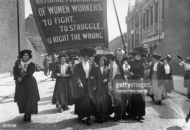 British suffragette Charlotte Despard heads a march of the National Federation of Women Workers through Bermondsey in South London