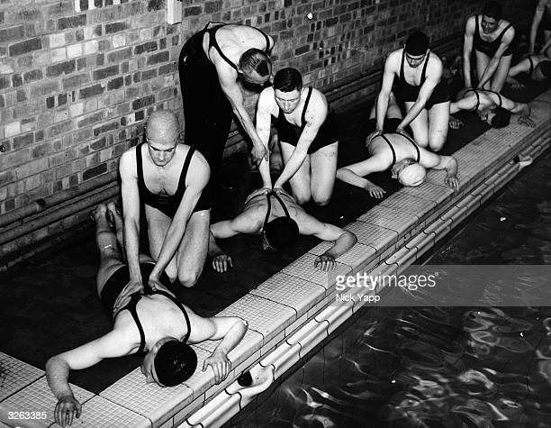 A class in artificial respiration for the Lancashire Constabulary who are training in the practical skills of swimming and lifesaving at the Hutton...