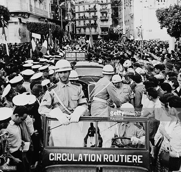 French military policemen in jeeps in a street at Algiers during the revolt by French officers under General Massu during the Algerian War of...
