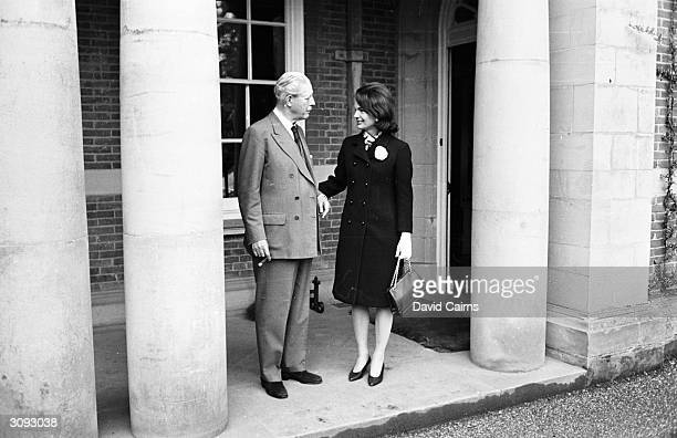 ExBritish prime minister Harold MacMillan and Jackie Kennedy widow of assassinated US president John F Kennedy at Birch Grove Sussex Mrs Kennedy is...
