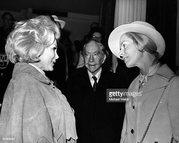 The Duchess of Kent meets Zsa Zsa Gabor at the Oxfam Maytime Fair whilst John Paul Getty looks on