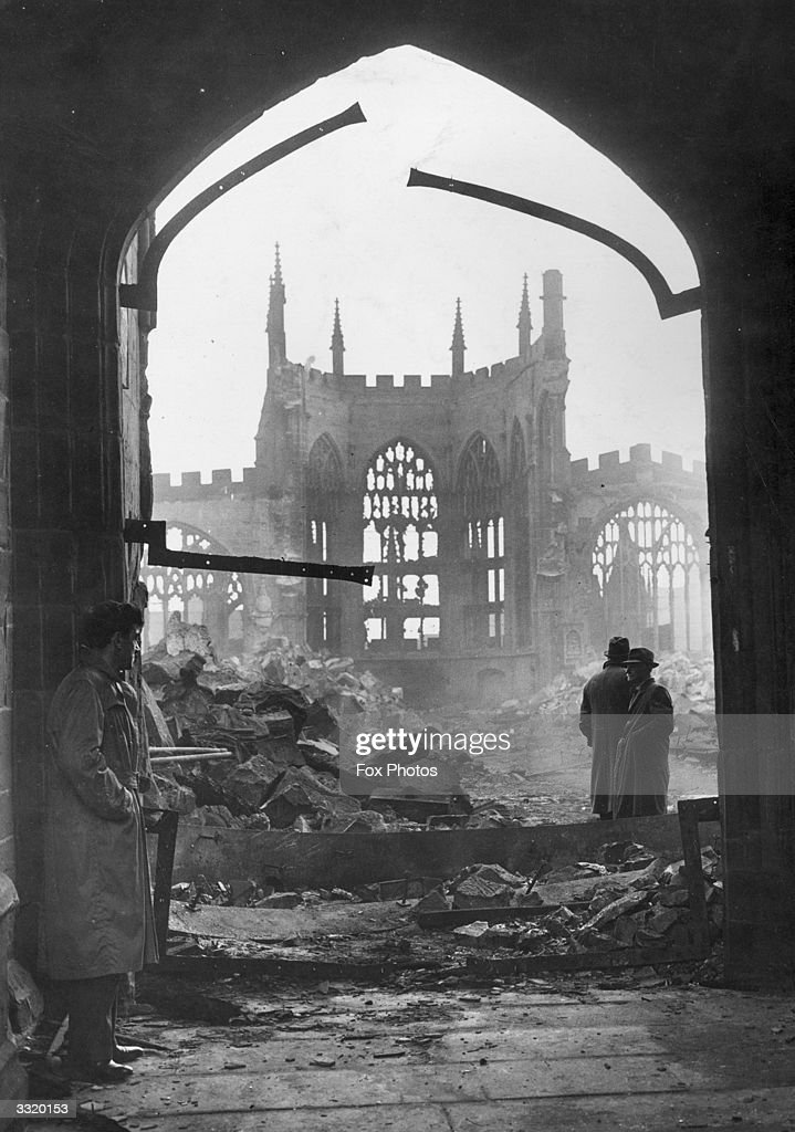 Coventry Cathedral, West Midlands, in ruins following a night-time attack by German bombers.