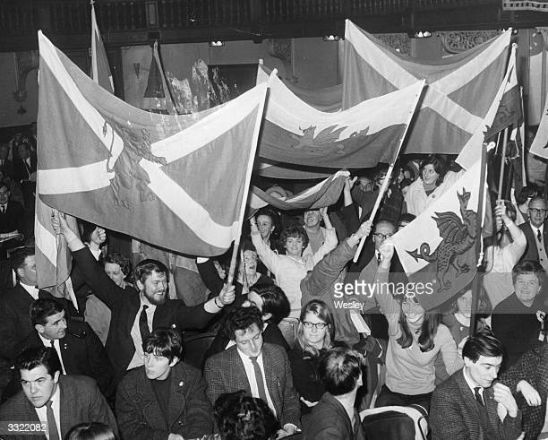 Members of the Scottish National Party and Plaid Cymru the Welsh National Party during a joint conference at Caxton Hall in London They are...