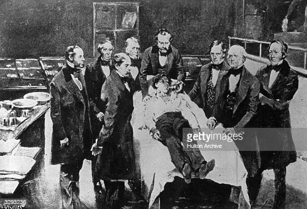Doctors at Massachusetts General Hospital reenact the first ever use of medical anaesthetics