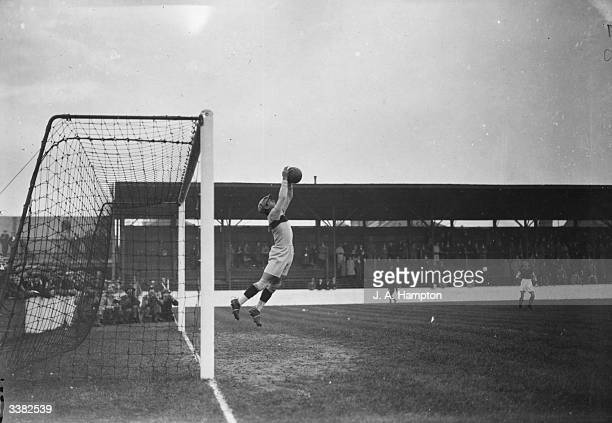 The South American goalkeeper makes a spectacular save as a team of amateurs from Peru and Chile play their first game against West Ham United at...