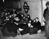 Londoners sheltering on a platform at Bounds Green tube station during an air raid in The Blitz