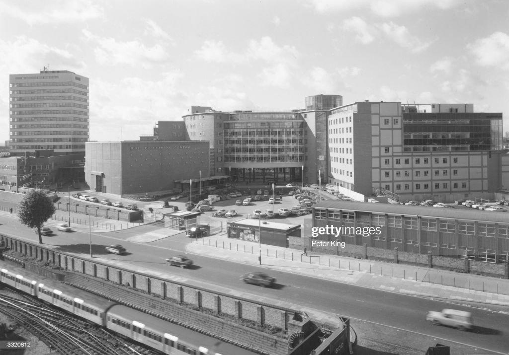 The British Broadcasting Company Television Centre at White City, London.