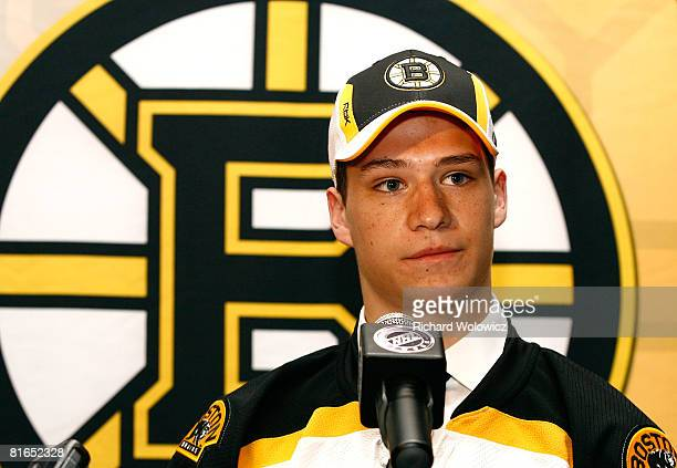 16th overall pick Joe Colborne of the Boston Bruins talks with the media during the 2008 NHL Entry Draft at Scotiabank Place on June 20 2008 in...