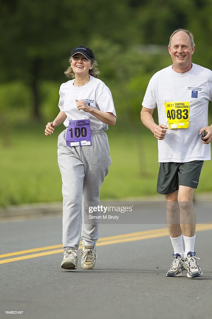 DC - MAY 16th Senator <a gi-track='captionPersonalityLinkClicked' href=/galleries/search?phrase=Kay+Bailey+Hutchison&family=editorial&specificpeople=218057 ng-click='$event.stopPropagation()'>Kay Bailey Hutchison</a> during the ACLI Capital Challenge 5k running Race in Anacostia Park.May 16th 2012 Photo Simon M Bruty/Any Chance Productions /Getty images