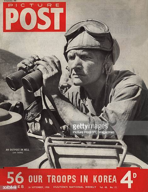 A grimfaced American tank crew commander keeping watch in Taegu Korea during the Korean War Original Publication Picture Post Cover 5086 We Follow...