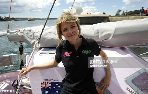 16year old solo sailor Jessica Watson poses alongside her yacht Ella's Pink Lady during the official launch of her Solo round the world voyage on...