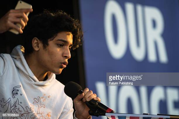 A 16yearold Ismaeel Yaqoob addresses thousands of proEU supporters at Unite For Europe March rally in Parliament Square which has been organised to...